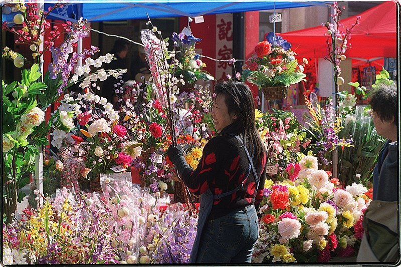 Chinese New Year 2004 in San Francisco feature artificial flowers for sale. (20 January 2004, 18:20:57)