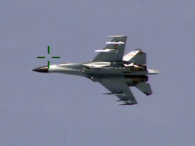 Chinese Shenyang J-11 from below in August 2014