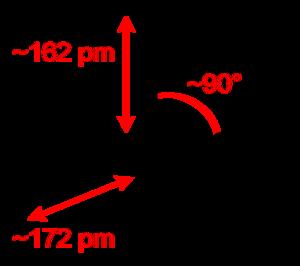 Chlorine pentafluoride - Image: Chlorine pentafluoride 2D dimensions