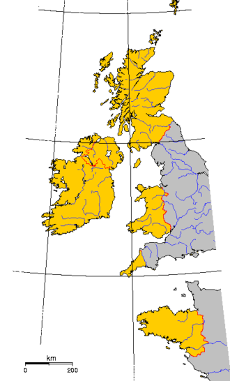 Celts (modern) - The six Celtic nations within their modern borders are shown in yellow