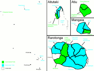 Cook Islands general election, 2006 - Map showing electorate results.