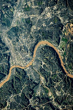 A NASA image of the Cincinnati metropolitan area, the Ohio River separates the states of Ohio and Kentucky