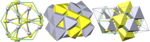 Cinnabar - Crystal structure of cinnabar: yellow = sulfur, grey = mercury, green = cell