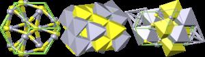 Cinnabar - Crystal structure of cinnabar: yellow = sulfur, grey = mercury, green = cell
