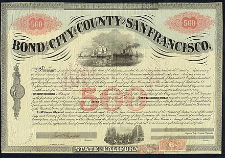 Bond of the City and County of San Francisco, issued 1. October 1863 City and County of San Francisco 1863.jpg