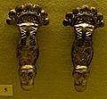 Cividale, man, coppia di fibule a staffa in bronzo dorato da necropoli di san giovanni tomba 154, seconda metà del VI sec.jpg