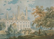 Clare Hall and the West end of King's College Chapel, Cambridge, 1793, watercolor on paper