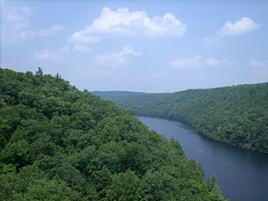 Clarion River - The Clarion River flows beneath I-80 (looking upstream).