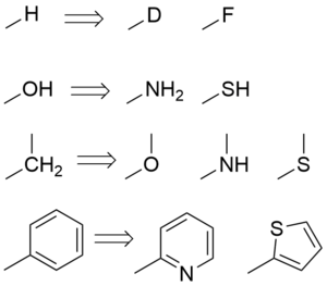 A table of common classical bioisosteres