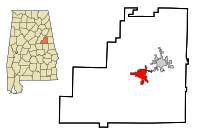 Clay County Alabama Incorporated and Unincorporated areas Ashland Highlighted.svg
