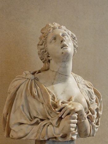 Cleopatra VII committing suicide. Marble, before 1697.