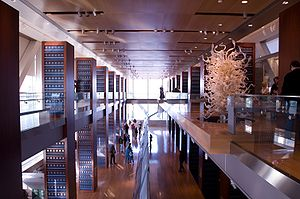 Clinton Presidential Center - The main gallery, in the interior of the main building, is modeled after the Long Room of Trinity College, Dublin.