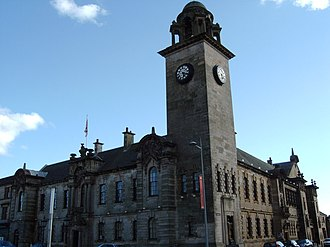 Clydebank - Underlining Clydebank's status as a police burgh after 1886, the Town Hall and Public Library were designed by James Miller and opened in 1902. The buildings are now B-listed and home of Clydebank Museum.