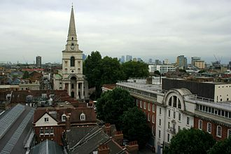 Spitalfields - View of Christ Church and the fruit and wool exchange, with Canary Wharf in the distance, September 2013
