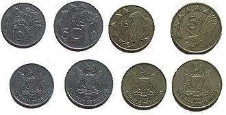 Namibian dollar - Image: Coins NAD 2005
