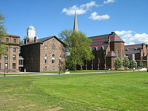 Wesleyan University - The rear of 'College Row'. From left to right: North College, South College, Memorial Chapel, Patricelli '92 Theater (Not pictured: Judd Hall)