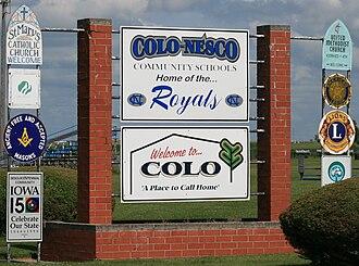 Colo, Iowa - Image: Colo Iowa 20090816 Welcome Sign
