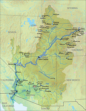Glen Canyon Dam - Map showing locations of major dams in the Colorado River Basin, with Glen Canyon near the center of the basin.