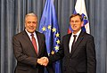 Commissioner Avramopoulos with Prime Minister of Slovenia Miro Cerar, 22-10-2015 (22387142026).jpg