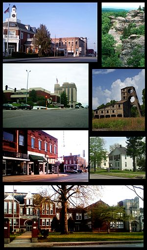 Harrisburg, Illinois - From top left: northern side of square, Garden of the Gods, Saline County Courthouse and Clearwave Building, O'Gara mine tipple, southern side of square, Poplar Street homes, Harrisburg Township High School.