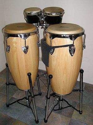 Conga - Front: A pair of congas.  Back: A pair of bongos.