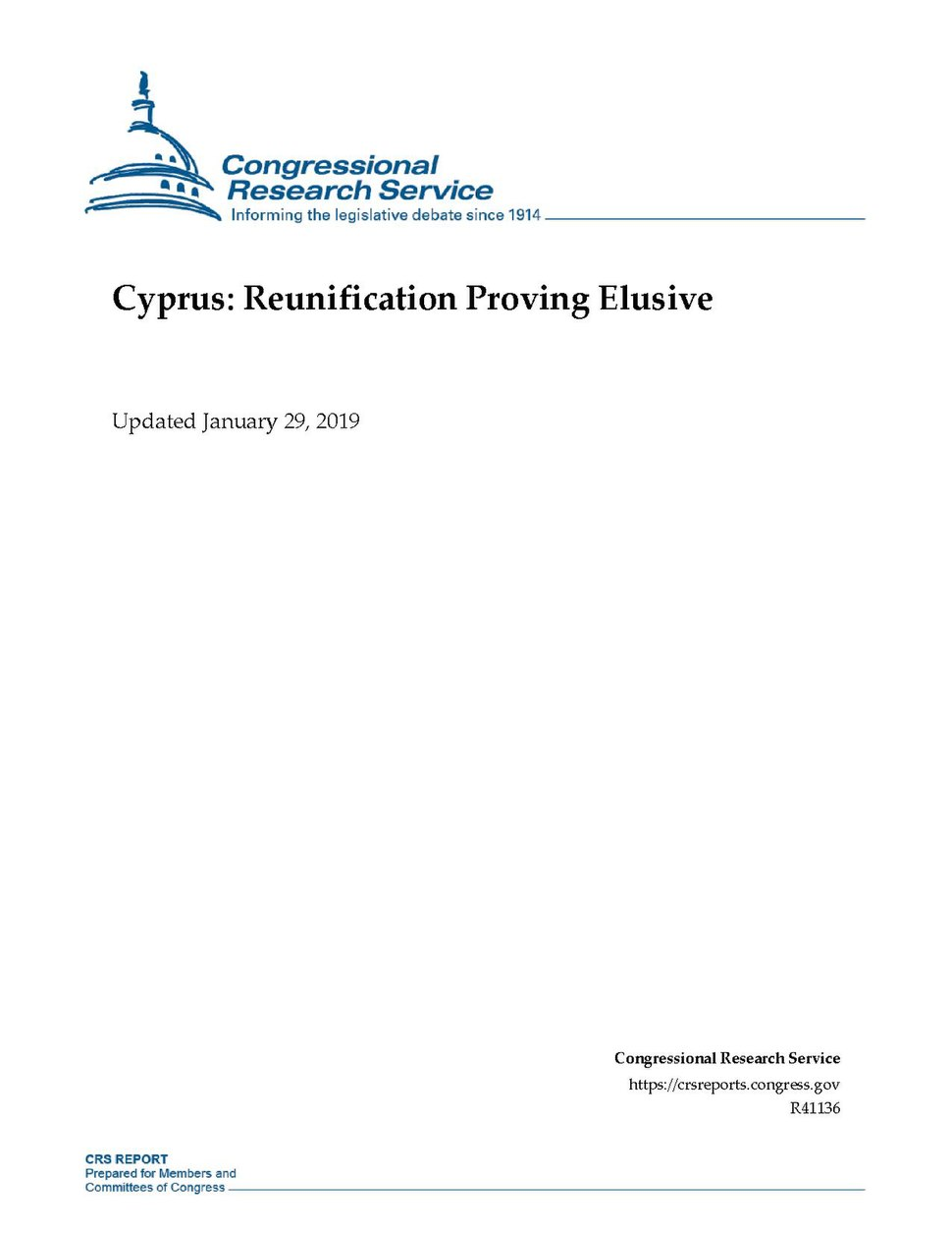 Congressional Research Service Report R41136 - Cyprus - Reunification Proving Elusive.pdf