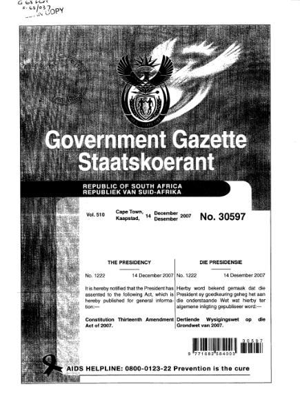 File:Constitution Thirteenth Amendment Act of 2007 from Government Gazette.djvu