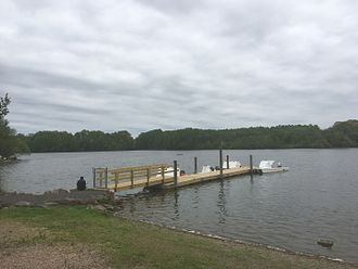 Core Creek Park - Boat dock on Lake Luxembourg in Core Creek Park