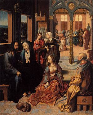 Cornelis Engebrechtsz. - Christ's second visit to the house of Mary and Martha. Ca. 1515-1520. Rijksmuseum Amsterdam.