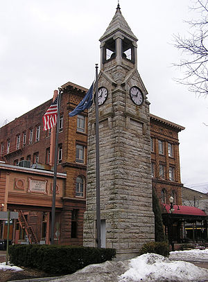 Corning (city), New York - Corning Clock Tower at Market and Pine Streets in downtown Corning.