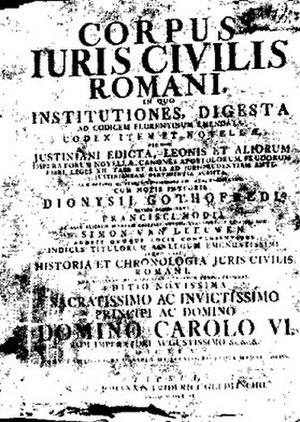 Common law - A 16th century edition of Corpus Juris Civilis Romani (1583)