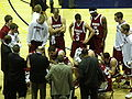 Cougars in huddle at WSU at Cal 2-7-09.JPG