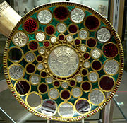 A bowl with Khosrau I's image at the center.