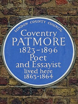 Coventry patmore 1823 1896 poet and essayist lived here 1863 1864