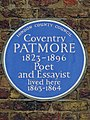 Coventry Patmore 1823-1896 poet and essayist lived here 1863-1864.jpg