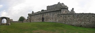 Craigmillar Castle - The outer court, with the gate on the left, and the main part of the castle centre-right