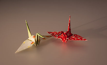 Origami cranes Cranes made by Origami paper.jpg