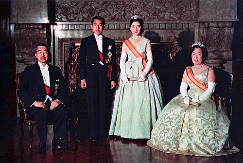 From left to right, Japanese Emperor Hirohito, Crown Prince Akihito, Crown Princess Michiko and Empress Nagako, 1959 Crown Prince & Princess & Emperor Showa & Empress Kojun wedding 1959-4.jpg