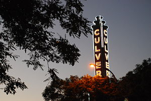 Culver Theater sign at sunset