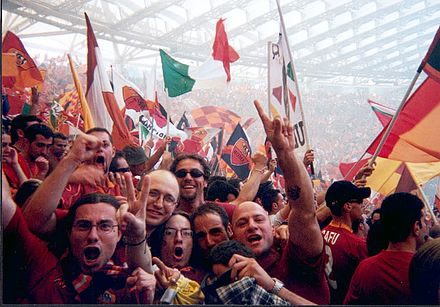 17 June 2001 - Roma-Parma 3-1: Roma won its third Italian championship in its history. Fans of the Curva Sud are overjoyed Curva sud roma campione.jpg