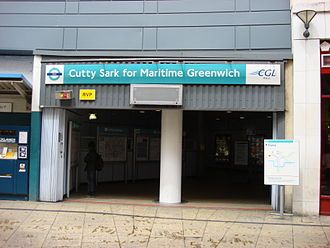Cutty Sark for Maritime Greenwich DLR station - Station entrance