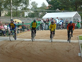 Cycle speedway Form of bicycle racing on short oval dirt tracks