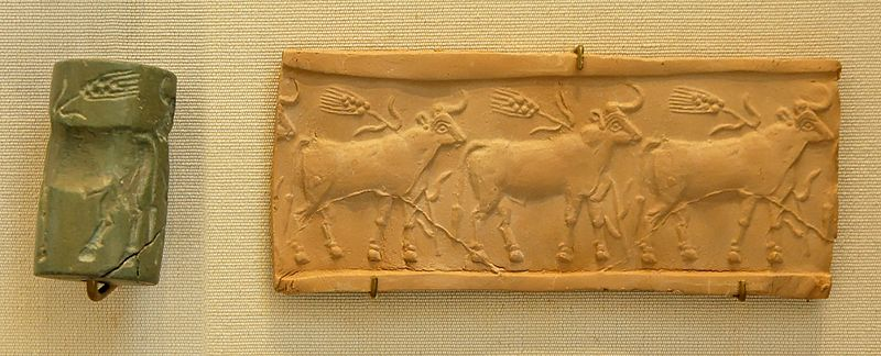 Archivo:Cylinder seal cattle Louvre MNB1906.jpg