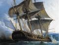 Détail du Combat des frégates francaises La Nymphe et L'Amphitrite contre le vaisseau anglais L'Argo (11 février 1783).png
