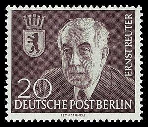 Ernst Reuter - Ernst Reuter on a West Berlin postage stamp from 1954.