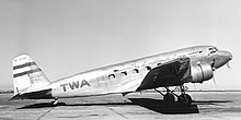 TWA DC-2 airplane parked on airport's concrete apron