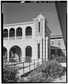DETAIL OF CORNER TOWER, FACING WEST - Casa Del Desierto, 685 North First Avenue, Barstow, San Bernardino County, CA HABS CAL,36-BAR,1-9.tif