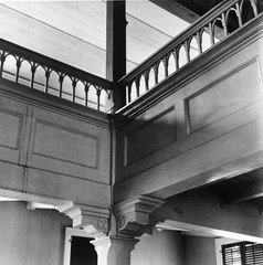 DETAIL OF WOODEN POST AND RAILING OF BALCONY AT THE INTERSECTION OF SOUTH (LEFT) AND WEST (RIGHT) BALCONIES - Moravian Church, Friedensfeld, St. Croix, VI HABS VI,1-FRIE,1-6.tif