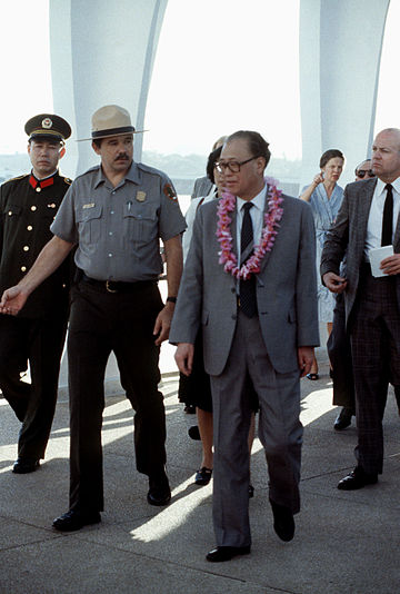 Premier Zhao Ziyang of the People's Republic of China on a tour of the USS ARIZONA memorial on January 7, 1984. - Zhao Ziyang
