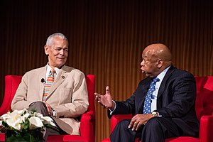 Julian Bond - (L-R) Bond with John Lewis, US Representative from Georgia, at the Civil Rights Summit at the LBJ Presidential Library in 2014